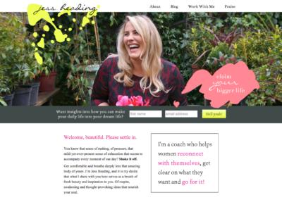 JessHeading.com: Custom WordPress theme development; design by Kyla Roma
