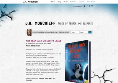 JHMoncrieff.com: Custom WordPress theme development; design by Kyla Roma