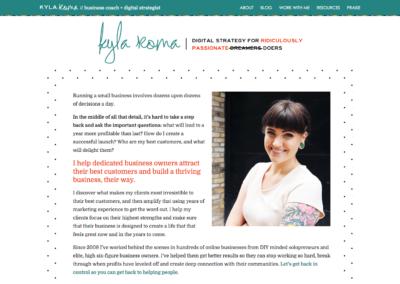 KylaRoma.com: Custom WordPress theme development; design by Kyla Roma