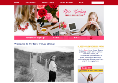 RoseKeating.com: Custom WordPress theme development; design by Leigh-Ann McLaughlin