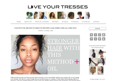 LoveYourTresses.com: Custom WordPress development, converted from Blogger theme
